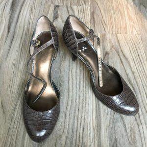 Ann Taylor Loft Womans Heels Ankle Strap Snakeskin
